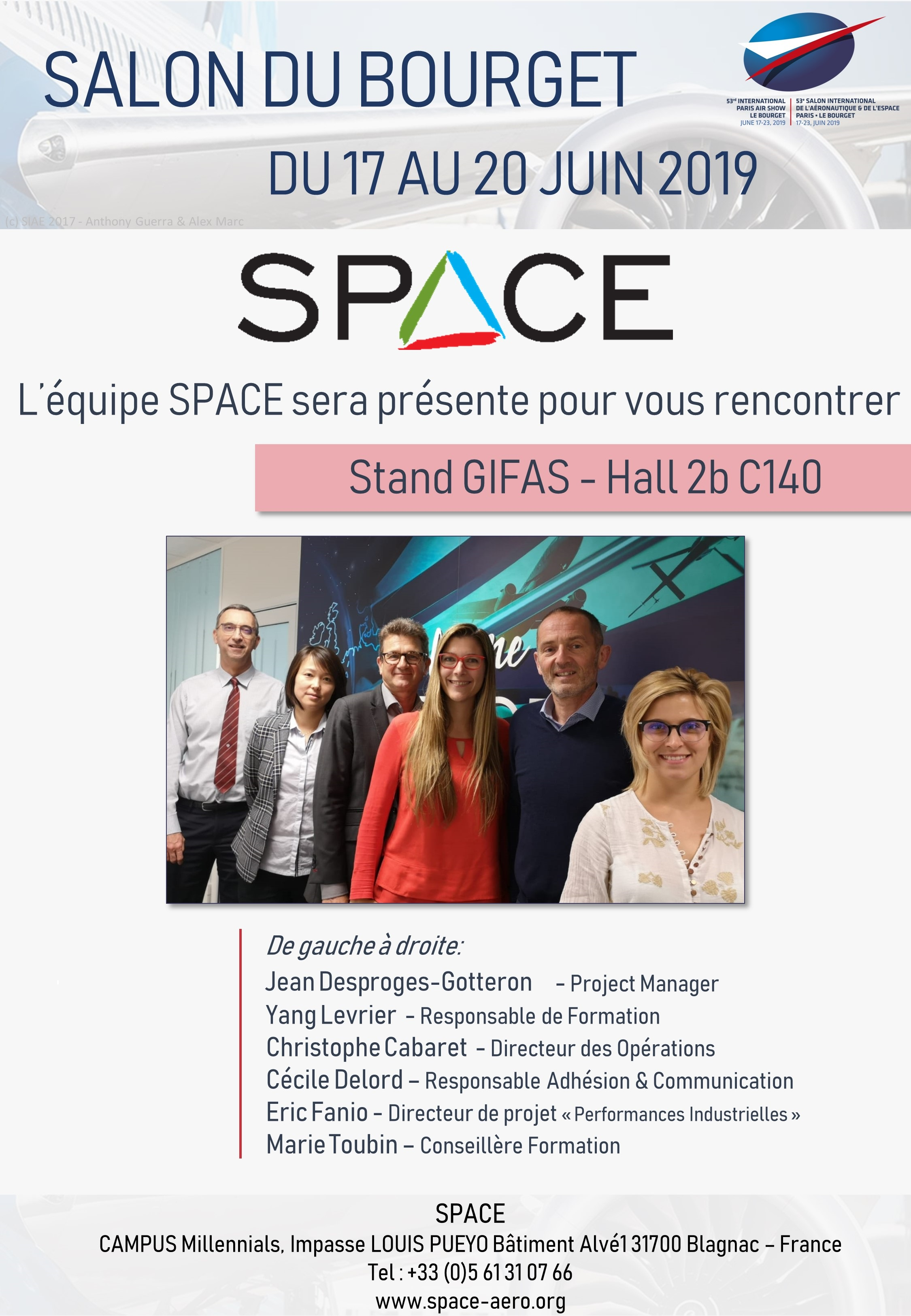 L'équipe SPACE Aero Sera Présente Au Salon Du Bourget 2019
