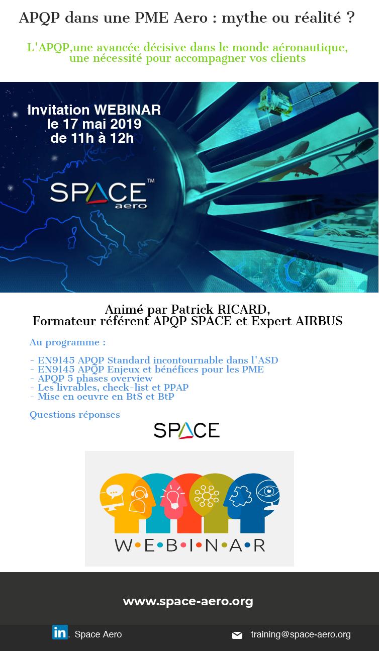 WEBINAR APQP Le 17 Mai 2019