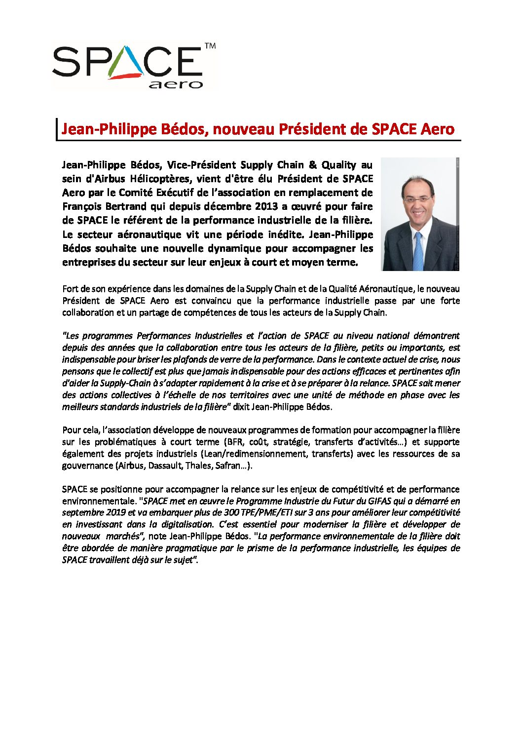Communiqué De Presse : Le Nouveau Président De SPACE